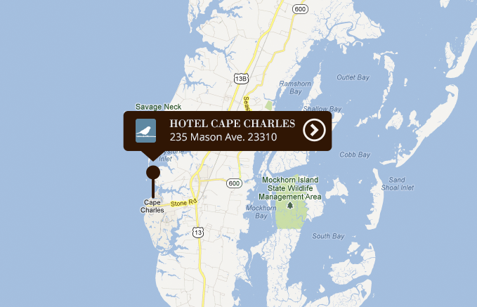 Google Map displaying the location of Hotel Cape Charles